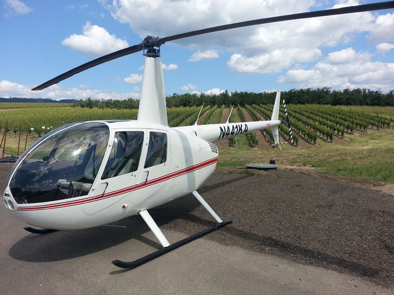 Helicopter landing at Adelsheim Winery